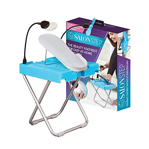 Salon Step Deluxe- Beauty Footrest for Easy At-Home Pedicures, Treat Your Feet, No Bending or Stretching- LED Magnifier, Drying Fan, Adjustable Foot Rest, Non-Slip Legs, Built-In Storage, Gel Comfort Cushion, Anti-microbial Infused