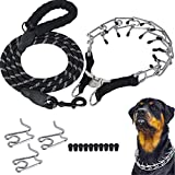 Companet Dog Prong Collar with Protector,3.0 mm x 19.7',Adjustable Links with Comfort Rubber Tips,Heavy Duty Leash for Medium Large Dogs