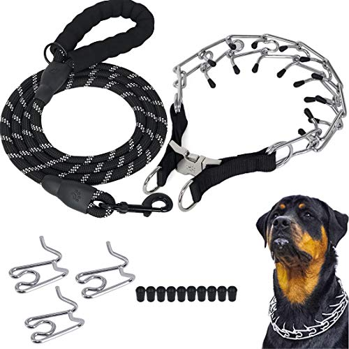 Companet Dog Prong Collar with Protector, 4.0 mm x 23.6', Choke Pinch Training Collar ,Adjustable Links with Comfort Rubber Tips, Heavy Duty Leash for Medium Large Dogs