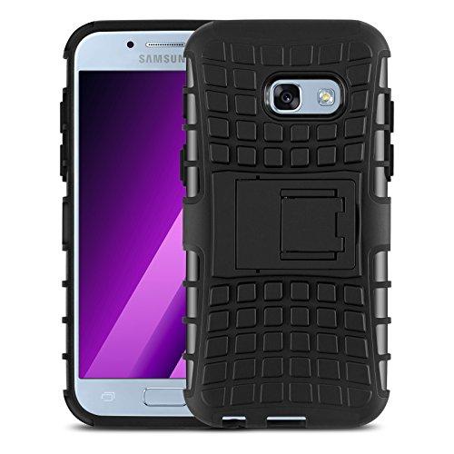 JAMMYLIZARD Outdoor Hülle für Samsung Galaxy A3 2017   Schutzhülle [Alligator] Doppelschutz Handyhülle Hardcase aus Polycarbonat & Silikon Backcover Lifeproof Hülle Cover, Schwarz
