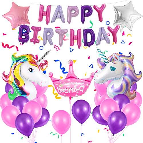Unicornio Cumpleaños Globos, Enormes 3D Globos de Unicornio Cumpleaños Estandarte, Feliz Cumpleaños Ballon Banner,Unicornio Globo Fiesta para Niñas
