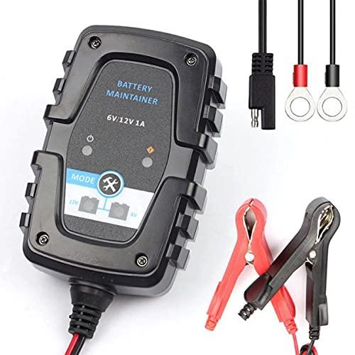 Ygerbkct Cargador de batería Inteligente automático de 6V 12V 1A para Cargador de batería de Scooter de Motocicleta de Coche con Conector rápido SAE