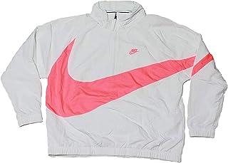 Nike Men's Sportswear Casual Nylon Quarter Zip Anorak Track Jacket White Pink AJ1404 122