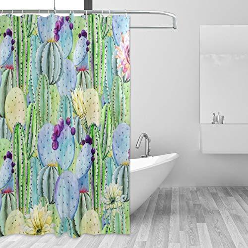 Emoya-Duschvorhang Aquarell Tropische Kakteen Peyote Badvorhang, wasserabweisend, Anti-Schimmel, Polyester-Stoff Home Decor mit Haken, 180 x 180 cm