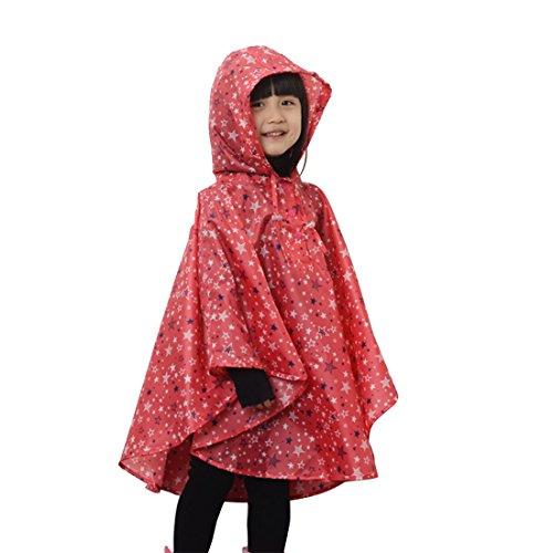 SUIWO Kinder-Regenkleidung Regen Anzug leichte wasserdichte Regenjacke Kinder-Gang-windundurchlässige Ultra rain Fahrrad-Motorrad-Schule im Freien Regenzeit (Color : Red)
