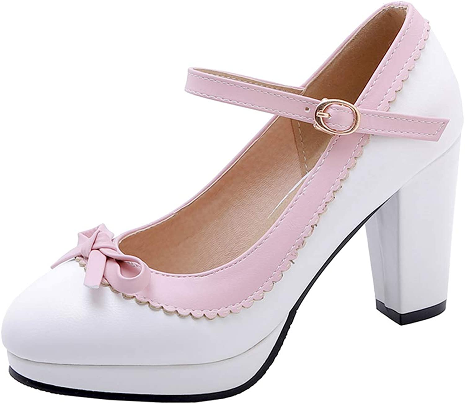 VIMISAOI Women's Sweety Bow Mary Janes Platform Chunky Block High Heel Strappy Dress Pumps Court shoes