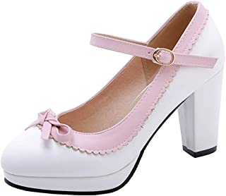 915a557be154 Vimisaoi Women s Sweety Bow Mary Janes Platform Chunky Block High Heel  Strappy Dress Pumps Court Shoes