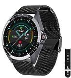 Phipuds Smartwatch Uomo Donna, Touchscreen 1.3'Smart Watch IP67 Fitness Tracker Orologio Sportivo Calorie Activity Tracker Monitoraggio della Frequenza Cardiaca per Android iOS, Ne