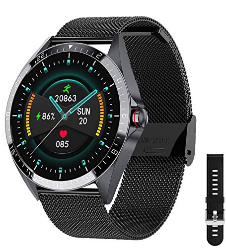 Phipuds Smartwatch Uomo Donna, Touchscreen 1.3 Smart Watch IP67 Fitness Tracker Orologio Sportivo Calorie Activity Tracker Monitoraggio della Frequenza Cardiaca per Android iOS, Nero