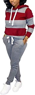 SUCCIOR Womens 2 Piece Outfits Color Block Long Sleeve Pullover Hoodie Pants Set Clubwear Sport Tracksuits S-XXL