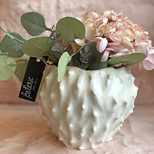 BOTANIC DESSIGN Arreglo Floral Artificial con Rosas y hortensias. Detalle Floral en Ramo de Flores Artificiales para decoración hogar. Centro de Flor Artificial con JARRÓN Decorativo Incluido