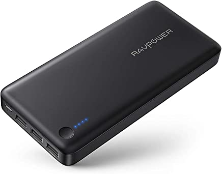 Power Banks RAVPower Portable Charger 26800mAh 3-Port 5.5A iSmart Output USB External Battery Pack for iPhone XS/XS MAX/XR, Galaxy S9/S8 and More Mobile Phones - Black