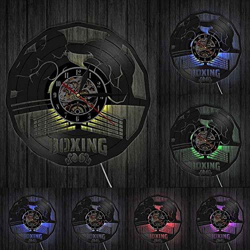 Boxeo Gimnasio Señal Boxeo Artes Marciales Reloj de pared Madville Decoración de pared Pugilismo Boxeo Evento Principal Vinilo Record Reloj de Pared Boxeador Regalo Luces LED