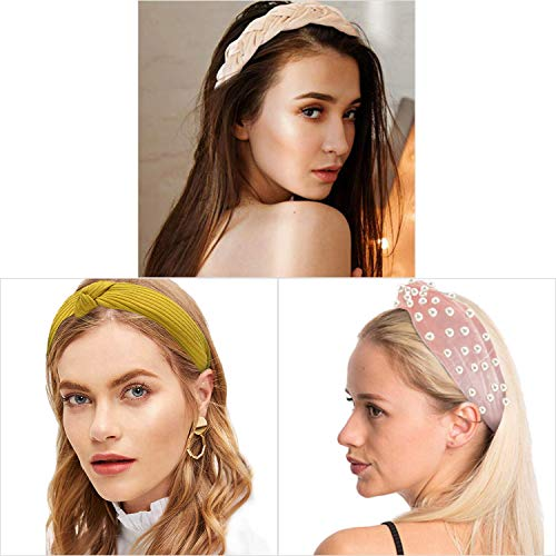3 Pack Headbands, Wide/Pearl/Fabric/Knot Headbands Accessories Cute Beauty Fashion Turban Hairbands for Women Wash Face Makeup Workout (4pcs)