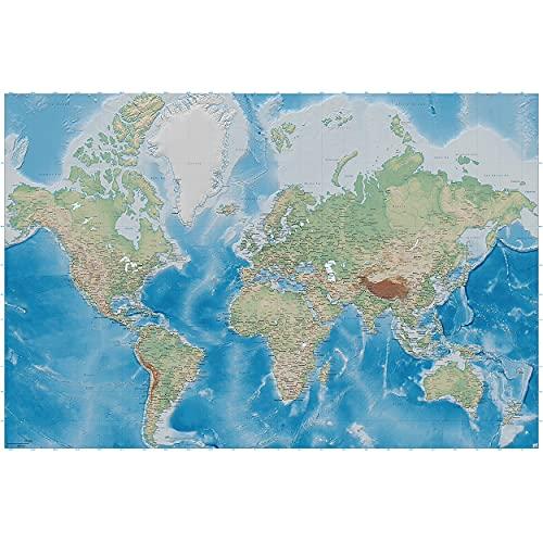 GREAT ART® Fototapete – Weltkarte – Wandbild Dekoration Miller Projection im plastischen Reliefdesign Erde Atlas Weltkugel Landkarte Geographie Foto-Tapete Wandtapete (336 x 236 cm)