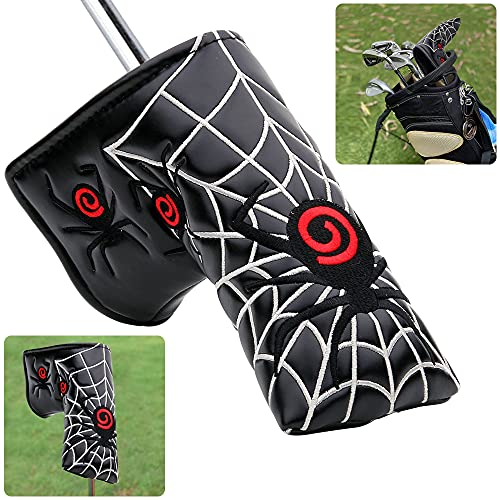 Baanfly Spider Web Golf Blade Putter Cover Mallet Headcover PU Leather Mid...