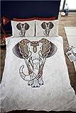 Samburu Elephant Juego de Ropa de Cama Doble, 2 Funda de edredón y 2 Fundas de Almohada, diseño étnico con Motivo de Elefantes, Color Gris