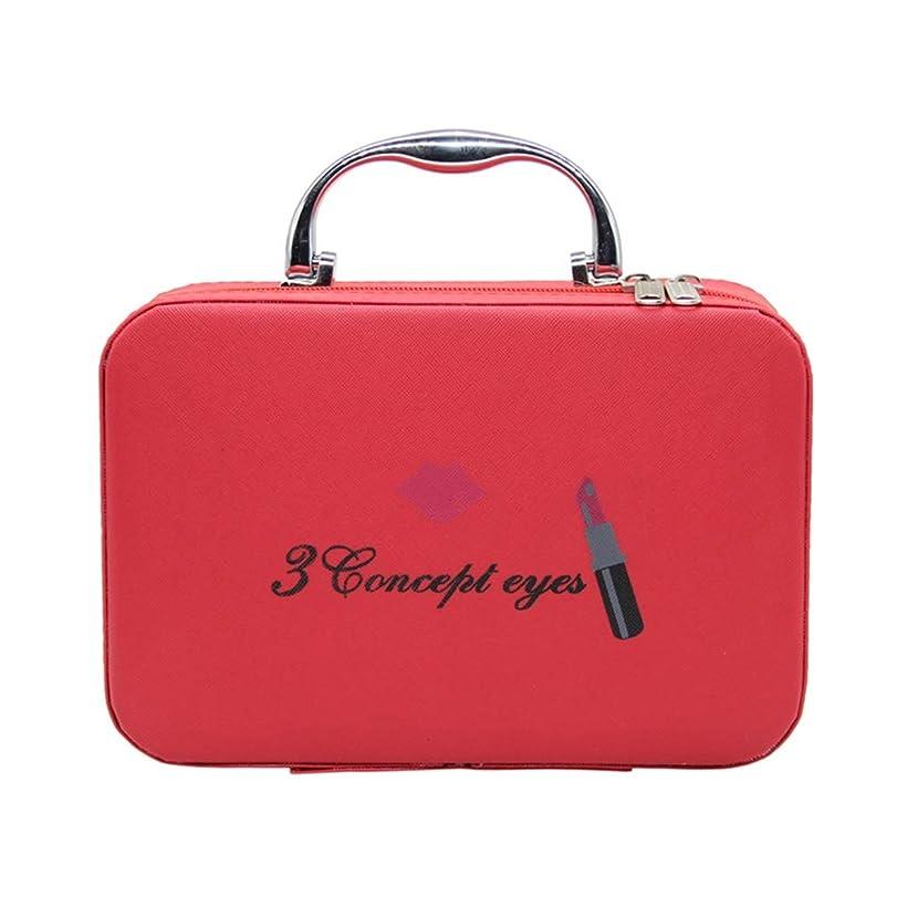 サークル容赦ない害メイクポーチ メイクバッグ コスメポーチ コスメバッグ 化粧品収納 手提げ スムース ダブルジッパー 小型 持ち運び便利