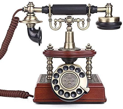 ADSE Teléfono Vintage Teléfono Retro con Auricular de Metal Cuerpo de Madera Dial Giratorio Funcional y Cable Rizado para decoración del hogar