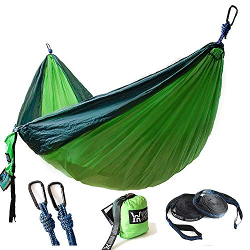 WINNER OUTFITTERS Double Camping Hammock - Lightweight Nylon Portable Hammock, Best Parachute Double Hammock for Backpacking, Camping, Travel, Beach, Yard. 118'(L) x 78'(W), Dark Green/Green Color