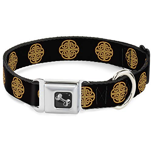 Buckle-Down Seatbelt Buckle Dog Collar - Celtic Knot Black/Burgundy/Gold - 1' Wide - Fits 9-15' Neck - Small