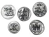 Eurofusioni Monedas Griegas Antiguas chapada Plata - Reproducción Tetradrachm - Set 5 Piezas