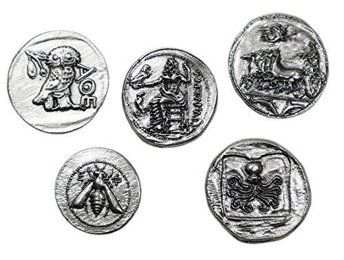 Antike Griechische Münzen - Versilbertes Metall - Reproduktion antiken Tetradrachme - Set 5 Stück