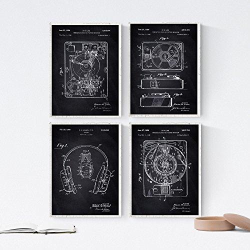 Nacnic Set 4 stampe artistiche vintage Nero, brevetto giradischi vinile. Invenzioni del XIX secolo e vecchi brevetti.. Oggetti antichi e d'antiquariato. 250 Grammi di Alta Qualità.