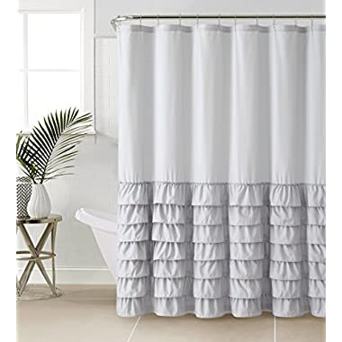 VCNY Melanie Ruffle Shower Curtain, Gray