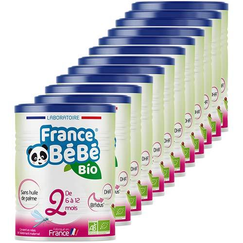 FRANCE BéBé BIO - Lait infantile de suite bébé 2ème âge en poudre - Lait fabriqué en France - 13 Vitamines 12 Minéraux - Pack 12 boîtes de 400g