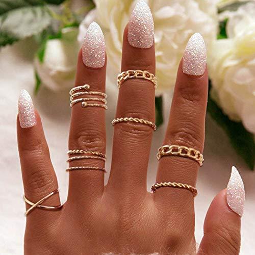 Flrora Boho geschnitzte Gelenk-Knöchelringe Gold stilvoll stapelbar Fingerringe Fashion Charm geschnitzte Ringe für Frauen und Mädchen (8er-Pack)