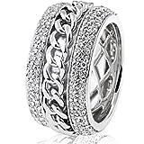 Goldmaid Damen-Ring Silber 925 160 klare Zirkonia bewegliches Mittelstück Größe 58