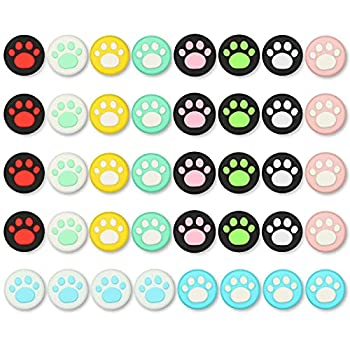 EEEKit 40Pcs 10Colors Cat Claw Design Thumb Grip Caps Joystick Cover Sets Compatible with Nintendo Switch&Lite Soft Silicone Cover for Joy-Con Controller