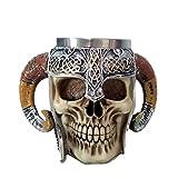 Touker Medieval Skull Mug, Stainless Steel Viking Drinking Mug with Double Ram Horn, Medieval Viking Pirate Warrior Mug Tankard Steins for Coffee Beer Wine Juice Beverage - 550ml (18 Oz)
