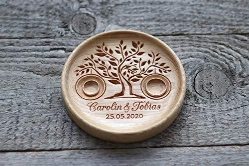 Cuscino anelli matrimonio legno, Cuscino anello nuziale rustico, Portafedi scatola Personalizzato' Albero della vita','Tree of Life'