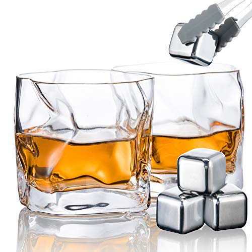 YouYah Whiskey Glasses Set of 2,Crystal Whisky Glasses with 4 Stainless Steel Ice Cubes and Ice Tong,Premium Rocks Glass,Gifts for Men,Lowball Bar Glass for Cocktails, Scotch, Bourbon,Cognac(7.8oz)
