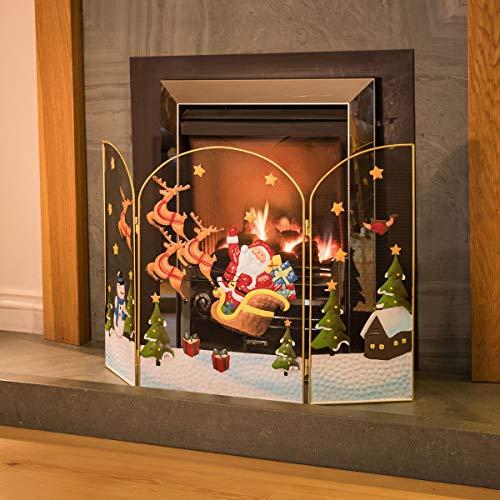 CHRISTOW Christmas Santa Reindeer Fireguard, Metal Mesh Fire Screen Guard, Festive Decoration, Hand Painted, H49cm