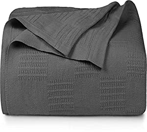 Utopia Bedding Premium Cotton Blanket Queen Grey - Soft Breathable Thermal Blanket 350 GSM - Ideal for Layering Any Bed by Utopia Bedding