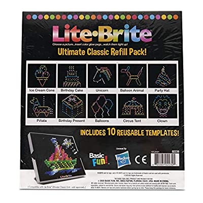 Basic Fun Lite Brite Ultimate Classic Refill Pack - Celebration Theme - 10 Reusable Templates - Amazon Exclusive from Basic Fun