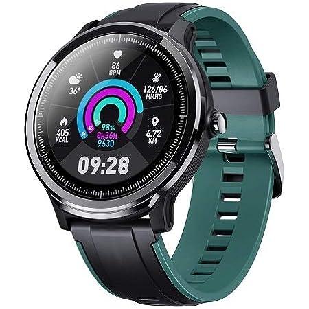 CrossBeats Ace Metal Smart Watch Full Touch Men Women Fitness Tracker Blood Pressure Blood Oxygen Heart Rate Monitor Waterproof Exercise Smartwatch (Turquoise, Sea Green)