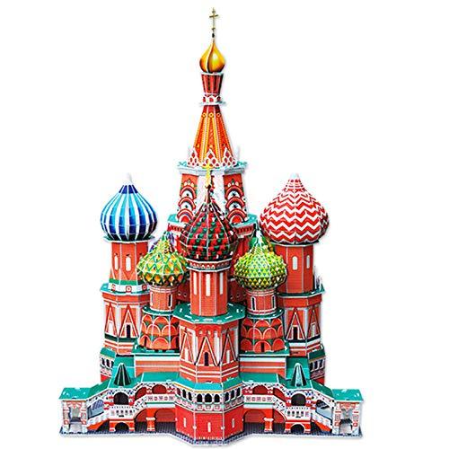Rompecabezas 3D, modelo para adultos y niños, conjunto de construcción de la catedral de San Basilio, juegos creativos de rompecabezas, juguete educativo, regalo de cumpleaños para niños y niñas