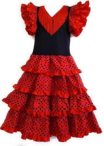 Robe Flamenco sevillane pour Fille, Rouge, 10