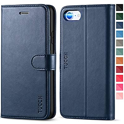 TUCCH iPhone SE 2020 Case, iPhone 8 Wallet Case, PU Leather iPhone 7 Case with Credit Card Holder, [TPU Interior Protective Case] Stand Folio Flip Cover Compatible with iPhone SE 2/8/7, Dark Blue