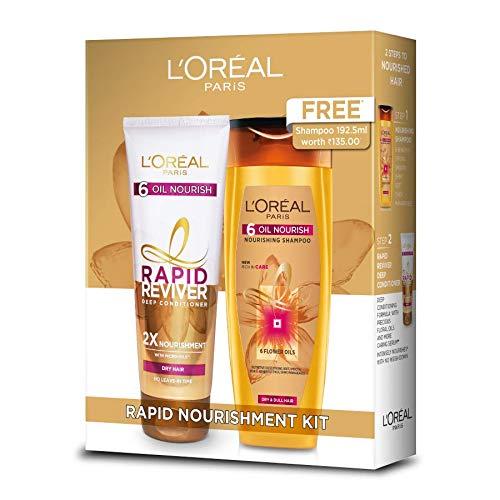L'Oreal Paris Rapid Reviver Conditioner, 180 ml with 6 Oil Nourish Shampoo, 192.5 ml