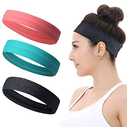 Sports Headbands for Women, Silicone Non slip Yoga Sweatbands, Stretchy Running Wicking Head Sweat Band Set, Elastic Exercise Workout Indoor Fitness Tennis Gym Athletic