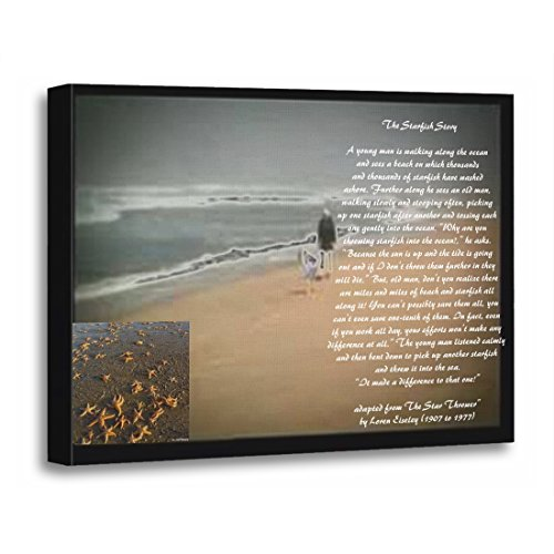 TORASS Canvas Wall Art Print Black The Starfish Story White Text Star Thrower Artwork for Home Decor 16' x 20'