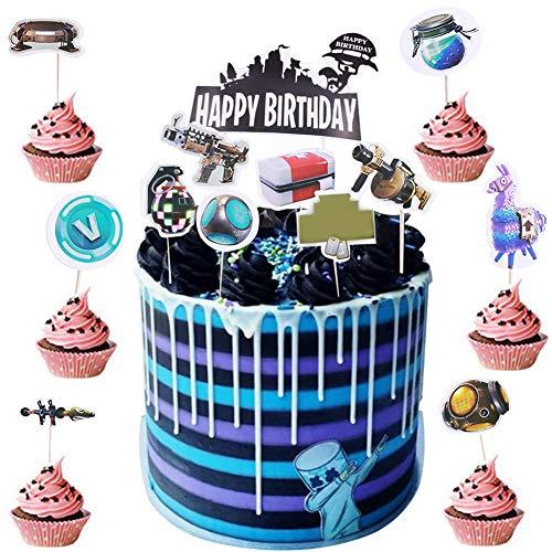 BESLIME Geburtstag Tortendeko 25pcs Cake Topper, Cake Topper Personalisiert, für Kinder Mädchen Junge Party Geburtstag Party Kuchen Dekoration