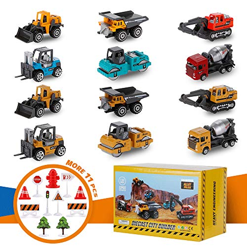 Diecast Construction Vehicles for Kids, Small Toy Construction Trucks Set Toys Cars with Road Sign, Small Construction Vehicles Site Toy Bulk Toddler Stocking Stuffers Gift for 3 4 5 Year Old Boys