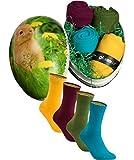 gigando | bunte colorful Baumwoll-Socken als Geschenk für Ostern | buntes Osterei | Strümpfe in kräftigen Farben für Sie & Ihn | 4 Paar | gelb, bordeaux, olive, petrol | 35-38 |