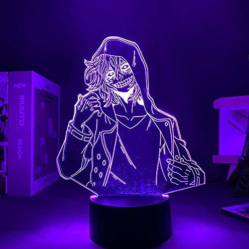 3D nattlampa anime my hero academia tomura shigaraki lampa f & ouml; r sovrum dekoration f & ouml; delsedags presente tomura Shigaraki LED-lampa